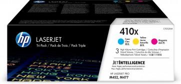 HP Paquete de 3 cartuchos de tóner cian/magenta/amarillo Originales LaserJet 410X de alta capacidad CF252XM