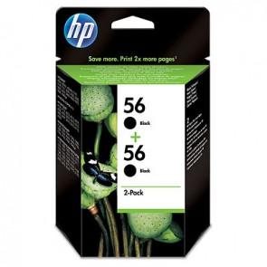 Pack de ahorro de 2 cartuchos de tinta original HP 56 negro