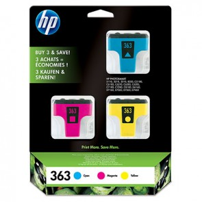 Pack de ahorro de 3 cartuchos de tinta original HP 363 cian/magenta/amarillo