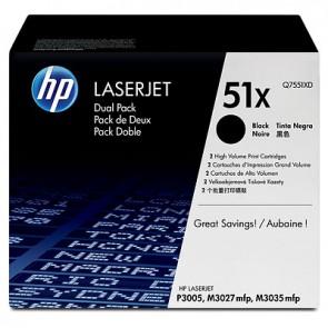 Pack de ahorro de 2 cartuchos de tóner original LaserJet HP 51X de alta capacidad negro