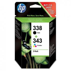 Pack de ahorro de 2 cartuchos de tinta original HP 338 negro/343 tricolor