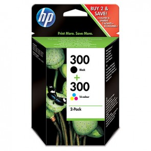 Pack de ahorro de 2 cartuchos de tinta original HP 300 negro/Tri-color