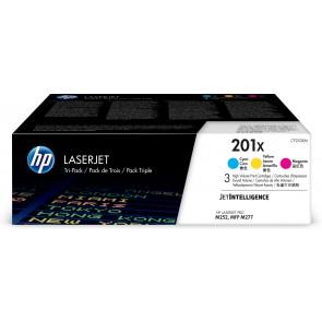 HP Paquete de 3 cartuchos de tóner cian/magenta/amarillo Originales LaserJet 201X de alta capacidad CF253XM